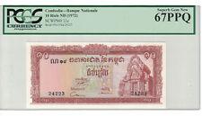 Cambodia 10 Riels 1972 Pick# 11c PCGS: 67 PPQ Superb GEM UNC. (#1272)