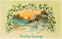DB Xmas Postcard E450 New Year Greetings Snow Covered Cottage Sunset Man Germany