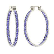 Natural Tanzanite Hoop Earrings in 925 Solid Sterling Silver Certified 0.70 TCW