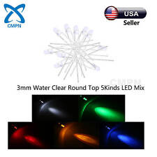 100Pcs 3mm 5Kinds Water Clear White Red Yellow Green Blue LED Diodes Mix Kits