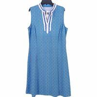 J. McLaughlin Blue Crochet Trim Diamond Print Shift Dress Womens Size Large