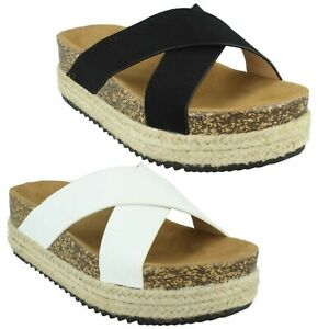 F1R2005 DOWN TO EARTH LADIES OPEN TOE FLATFORMS CASUAL SUMMER SANDALS MULES SIZE