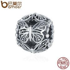 BAMOER Retro 925 Sterling silver Charm butterfly Hollow Bead Forbracelet Jewelry