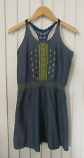 Womens LUCKY BRAND Blue & Yellow Chambray Embroidered Dress ~ XL (A11)