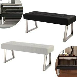 Dining Chairs Bench Long Seat Chrome metal legs Bedroom Faux Leather Black White
