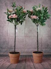 2 künstliche Rosenbäume 100cm getopft hellrosa Rosen Kunstblumen Kunstrosen Rose