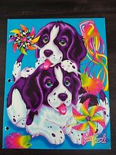 Vintage LISA FRANK 2 Pocket Folder Velvet Violet Puppies Dog