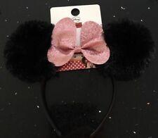 MINNIE MOUSE Bow DISNEY Ears Headband Primark Girls Black Fur & Pink Glitter