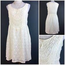 ann taylor loft Ecru Cream Lace Crochet Look Knee Dress Sz UK 12 Vintage Look