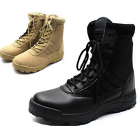 Men Army Tactical Combat Military Zipper Ankle Boots Outdoor Hiking Desert Shoes