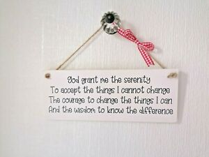 """Handmade Wooden """"The Serenity Prayer"""" Chalk Painted Gift Plaque/Sign"""