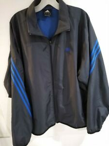 Adidas Mens Dark Grey Full Zip Track Soccer Jacket 3 Stripe Size Large