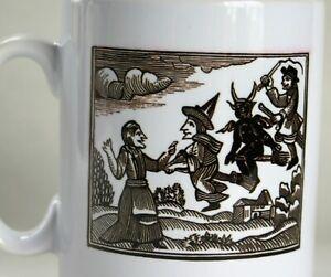 Black Magic Witch Coffee Mug Printed Tea Cup Medieval Woodcut Pagan Design