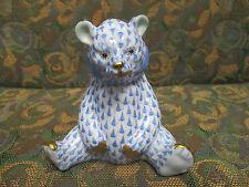 HEREND, BABY BEAR SITTING PORCELAIN FIGURINE,  BLUE FISHNET