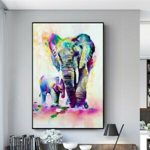 Abstract Street Graffiti Elephant family Oil Painting on Canvas Nordic Wall Art