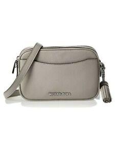 MICHAEL KORS Women's Gray Leather Adjustable Strap Crossbody Handbag Purse