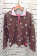Joules Ladies Sweatshirt Size 8 Classic Fit, Soft Brown with Duck Egg Blue Spots