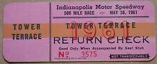 1961 Indy 500 Return Check Ticket Indianapolis Motor Speedway Tower Terrace