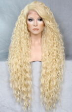 """38"""" Long Human Hair Blend Lace Front Wig wavy Heat OK Pale Blonde WESP 613 NWT"""
