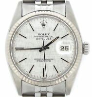 Mens Rolex Datejust Stainless Steel/18K White Gold Watch Silver Linen Dial 16014