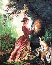 Needlepoint French Woman Dog Painted Mesh 10 Count Vintage Estate Europe Trees
