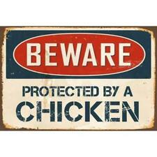 Metal Plate Sign Beware Protected By Chicken Gate Bar Warn Home Wall Decor Cave