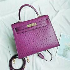 Authentic House Of Hello Ostrich Kelly  Bag 25 Purple