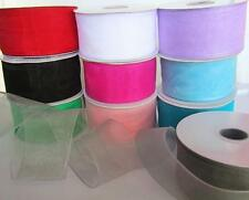 "25 yards Roll Organza Sheer 1.5"" Wide Ribbon Supply/Wedding US Seller OR15-Black"