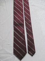 DKNY DONNA KARAN NEW YORK Men's 100% Silk Neck Tie Maroon & Gray Striped Necktie