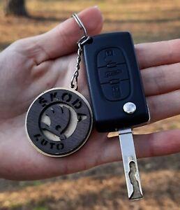 Best Price Wooden Skoda Keyring Key Laser Cut Wood Car Keychain Natural