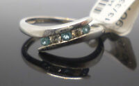 9ct white gold blue topaz and diamond ring with Birmingham hallmark size L