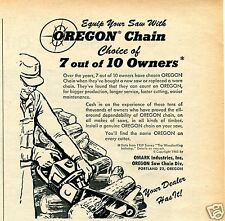 1961 Omark Industries Inc Print Ad Equip Your Saw With OREGON Chain