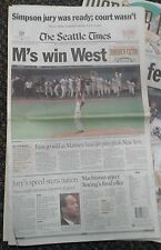 M's Win West The Seattle Times Newspaper Tuesday October 3rd 1995 FULL PAPER