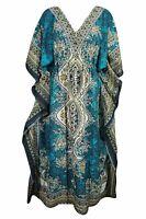 Women Long Kaftan Caftan Maxi Dress Blue African Night Gown Hippies Teal