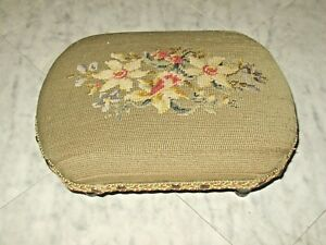 """Vintage Foot Stool Needle Point Dogwood Flowers Covering Small 13 x 10 x 5"""""""