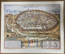 "Jerusalem The Holy City Map Braun-Hogenberg Cooper Engraving Germany 12.8""*15.4"""