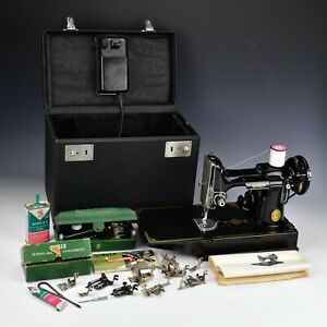 Vintage 1951 Singer Featherweight Sewing Machine 221 with Accessories See Video!