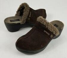 Crocs Cobbler Mules Womens Clogs Shoes Brown Suede Slip On Low Faux Fur  US 7