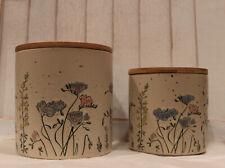 New listing Set of 2 InHomeStylez Spectrum Designz Floral Garden Canisters With Wooden Lids