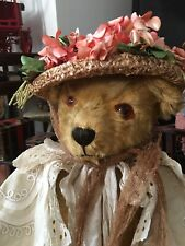 Large Antique Pedigree  Teddy Bear 25 Inches Bells In Ears.