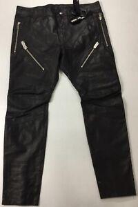 """Diesel Men 32"""" P-Von-L Leather Pants $898 Black Size 34"""