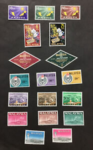 MALAYSIA 1963-65 XF MLH Sc#1-19 First 7 Sets   (W5)
