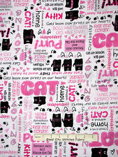 Cat Fabric - Kitty Cat Paw Print Words Pink Wh Benartex #04849 Smudgy Cat - Yard