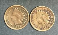 Two Copper-Nickel Indian Head Cents 1862 and 1863