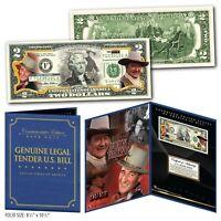 JOHN WAYNE The Duke Genuine Legal Tender U.S. $2 Bill in Large Folio Display