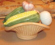Ceramic Corn, Garlic, Onion, and Zucchini Basket Rare !