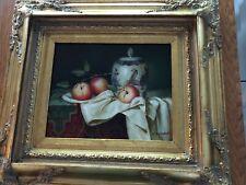 J.Nodrik Signed Original Oil Still Life On Canvas