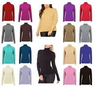 WOMENS LADIES LONG SLEEVE POLO HIGH ROLL NECK RIBBED KNITTED SWEATER JUMPER 8-18