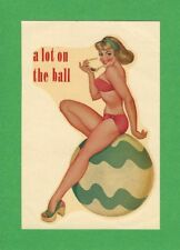 """VINTAGE ORIGINAL 1953 PINUP """"A LOT ON THE BALL"""" GLAMOUR GIRL WATER DECAL ART"""