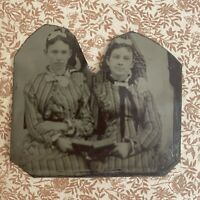 """tintype """"unfriended"""" Victorian Photo Of Two Women"""